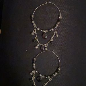 Cute hoop earrings with brown gems